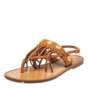 Valentino Brown Leather Fringed Coin Detail Flat Sandals Size 38