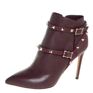 Valentino Maroon Leather Rockstud Pointed Toe Ankle Boots Size 39