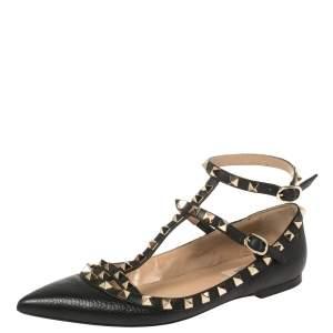 حذاء فالنتينو فلات باليه روكستد جلد أسود