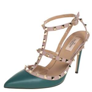 Valentino Teal Green/Beige Leather Rockstud Pointed Toe Ankle Strap Sandals Size 41