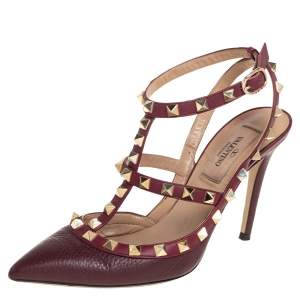 Valentino Burgundy Leather Rockstud Pointed Toe Ankle Strap Sandals Size 36