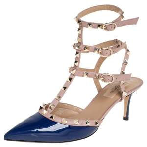 Valentino Blue/Beige Patent And Leather Rockstud Ankle Strap Sandals Size 39.5