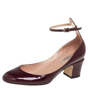 Valentino Brown Patent Leather Ankle Strap Pumps Size 37.5
