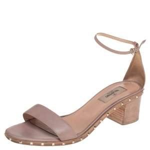 Valentino Pink Leather Rockstud Ankle Strap Sandals Size 38.5