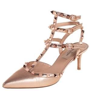 Valentino Metallic Bronze Leather Rockstud Ankle Strap Sandals Size 37