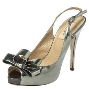 Valentino Metallic Grey Leather Bow Peep Toe Slingback Pumps Size 36