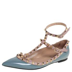Valentino Grey Patent Leather Rockstud Ankle Strap Ballet Flats Size 38