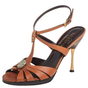 Valentino Tan Leather Embellished Ankle Strap Sandals Size 38.5