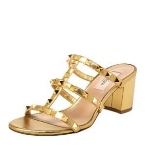 Valentino Gold Leather Rockstud Slide Sandals Size 36.5