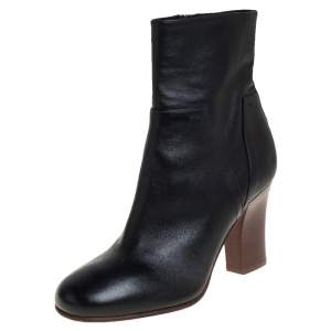 Valentino Black Leather Rockstud Ankle Boots Size 35