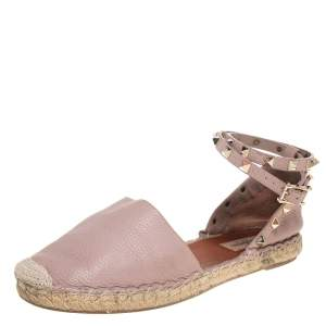 Valentino Beige Leather Espadrille Ankle Strap Flats Size 39