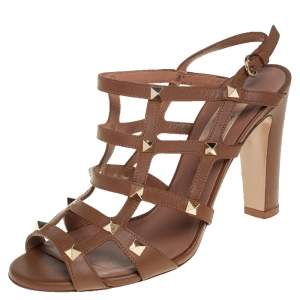 Valentino Brown Leather Rockstud Caged Sandals Size 38