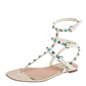 Valentino White Leather Rolling Rockstud Flat Sandals Size 38