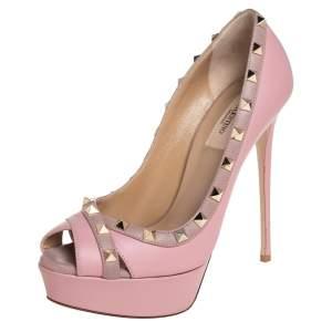 Valentino Pink Leather Rockstud Peep Toe Platform Pumps Size 38.5