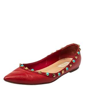 Valentino Red Leather Rockstud Pointed Toe Ballet Flats Size 37
