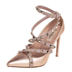 Valentino Metallic Beige Leather Rockstud Strappy Pointed Toe Pumps Size 38