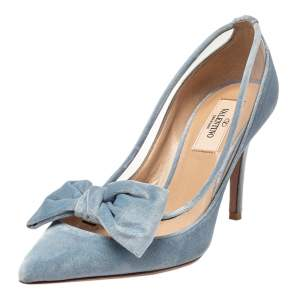 Valentino Light Blue PVC And Velvet Dollybow Pointed Toe Pumps Size 36
