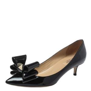 Valentino Black Patent Leather Rockstud Bow Pointed Toe Pumps Size 39
