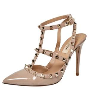 Valentino Beige Patent Leather Rockstud Pointed Toe Ankle Strap Sandals Size 38
