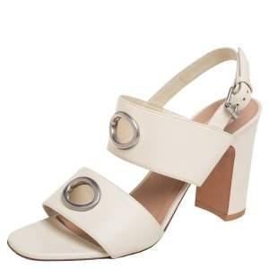 Valentino Cream Leather Block Heel Slingback Sandals Size 38.5