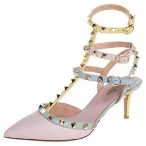 Valentino Multicolor Leather Rockstud Pointed Toe Ankle Strap Sandals Size 36