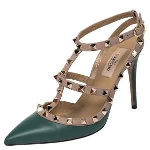 Valentino Green/Beige Leather Rockstud Ankle Strap Sandals Size 37