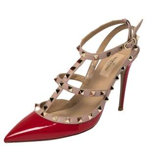 Valentino Red/ Beige Patent And Leather Rockstud  Sandals Size 39