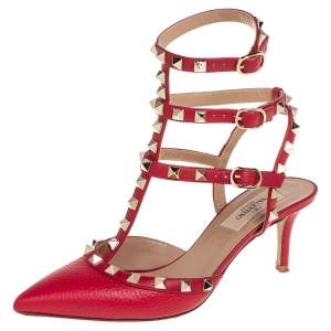 Valentino Red Leather Rockstud Ankle Strap Sandals Size 36