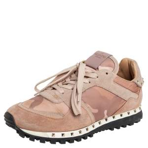 Valentino Beige Canvas And Suede Rockrunner Sneakers Size 39