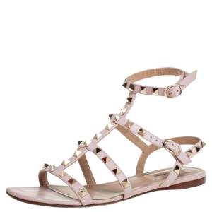 Valentino Pink Leather Rockstud Ankle Strap Sandals Size 36