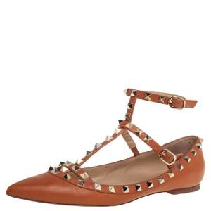 Valentino Brown Leather Rockstud Ankle Strap Ballet Flats Size 39