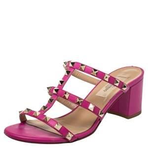 Valentino Pink Leather Rockstud Block Heel Slides Sandals Size 36