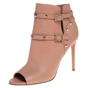Valentino Beige Leather and Rockstud Peep Toe Booties Size 40