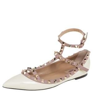Valentino Cream/Beige Patent Leather Rockstud Ankle Strap Ballet Flats Size 38.5
