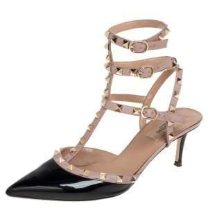 Valentino Black Patent Leather Rockstud Strappy Sandals Size 40