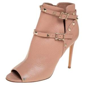 Valentino Beige Leather Studded Ankle Strap Open Toe Booties Size 38