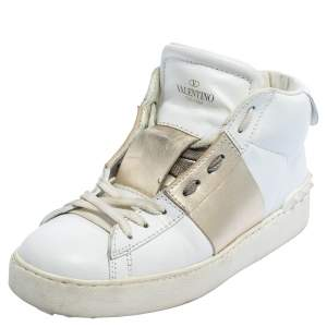 Valentino White/Gold Leather Rockstud High Top Sneakers Size 38