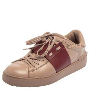 Valentino Beige/Burgundy Leather Rockstud Low Top Sneakers Size 38