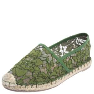 Valentino Green Lace Espadrille Flats Size 36