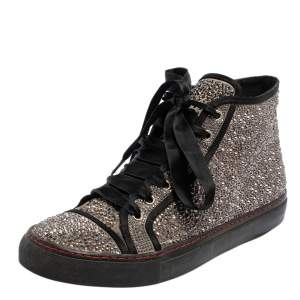 Valentino Grey/Black Embellished Satin High Top Sneakers Size 39.5