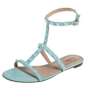 Valentino Blue Leather Rockstud Ankle Strap Flats Size 40
