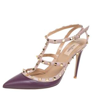 Valentino Purple/Beige Leather Rockstud Pointed Toe Ankle Strap Sandals Size 41