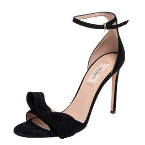 Valentino Black Suede Ankle Strap Bow Sandals Size 38
