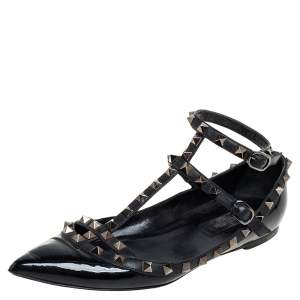 Valentino Black Patent And Leather Rockstud Ankle Strap Ballet Flats Size 38