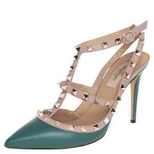 Valentino Green/Pink Leather Rockstud Pumps Size 38