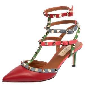 Valentino Multicolor Leather Rockstud Sandals Size 37.5