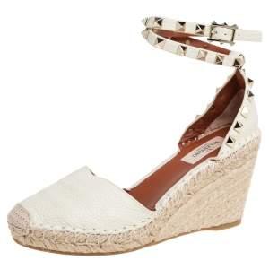 Valentino Cream Leather Rockstud Espadrille Wedge Sandals Size 36