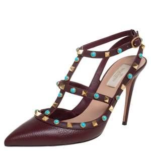 Valentino Burgundy Leather Rolling Rockstud Sandals Size 40