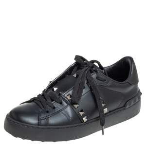 Valentino Black Leather Studded Open Sneakers Size 36
