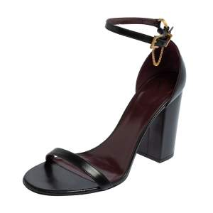 Valentino Black Leather Ankle Strap Sandals Size 37.5